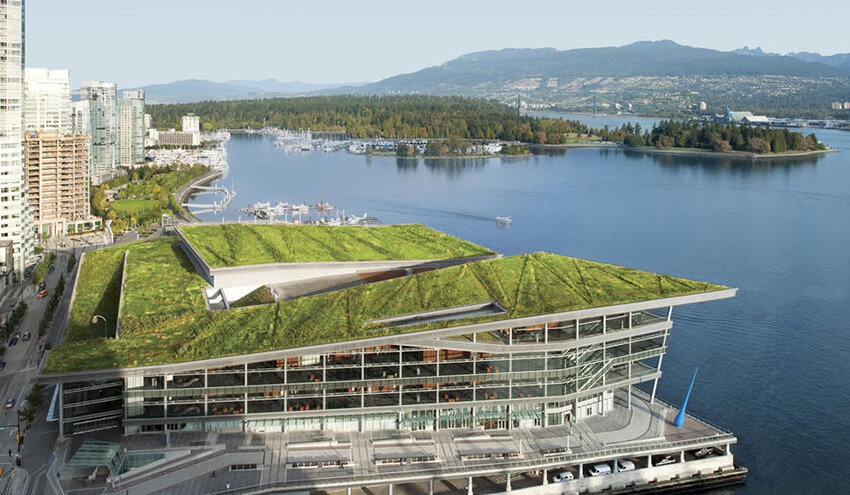 Vancouver Convention, a green convention center that is surrounded by water