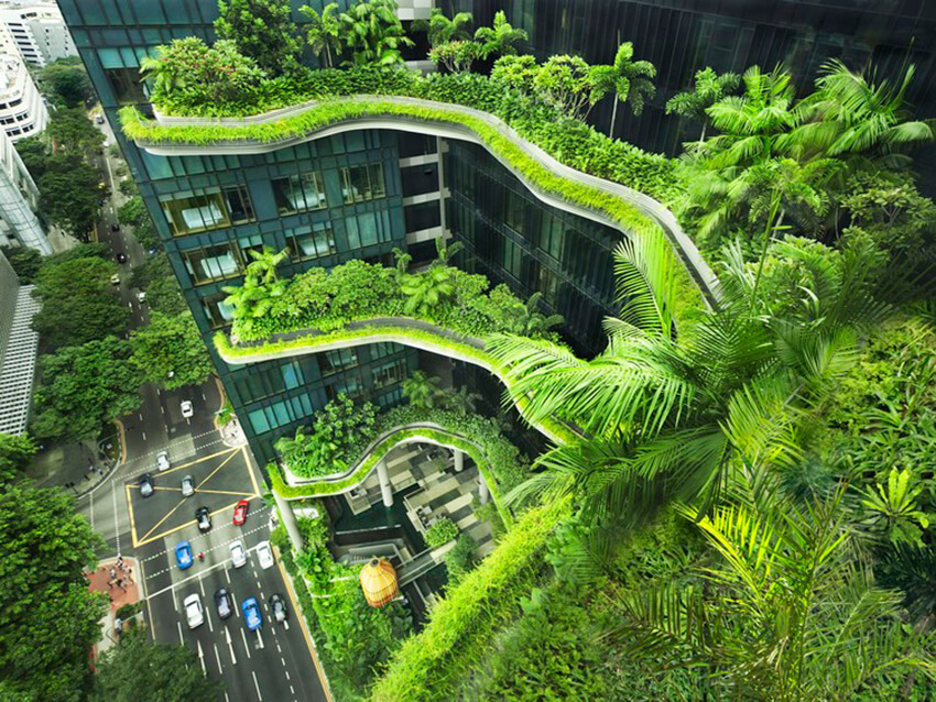 Singapore park royal hotel , a commercial building in green architecture style