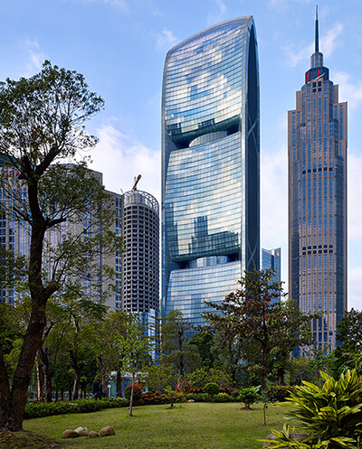 pearl River, a skyscraper with glass façade and black color