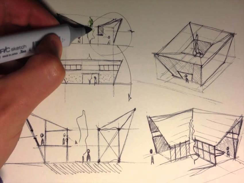 drawing on a sketch paper as a primary steps of architectural concepts of a project