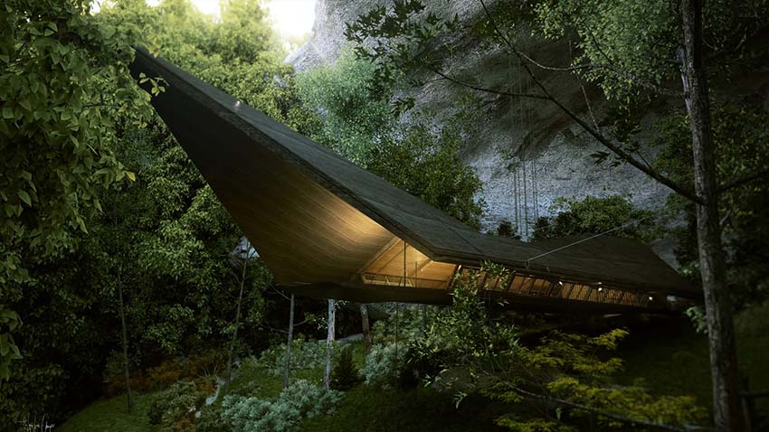 : Time Travelers House in the heart of a green jungle