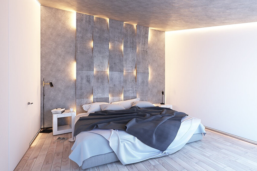 Room interior with concrete decorative on the wall