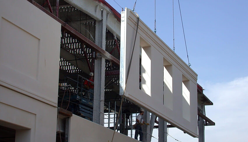 Installing precast concrete in the exterior side