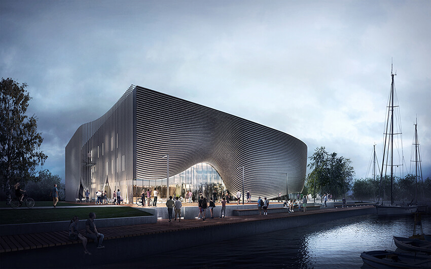 an architectural render of a building with parametric design located near a river