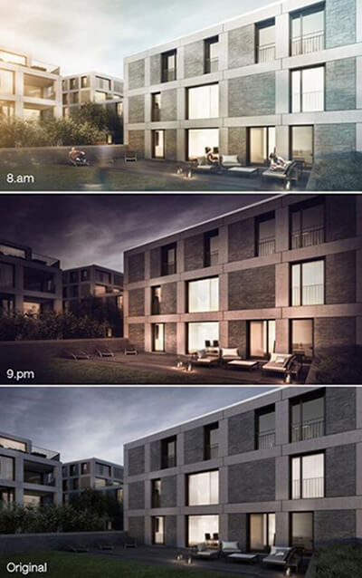 3 different lighting design in 3D architectural rendering outputs