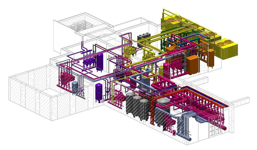 a part of the MEP modeling of a building with details, in Revit software