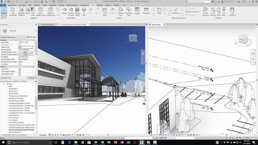 a 3D model of a building in Autodesk Revit software
