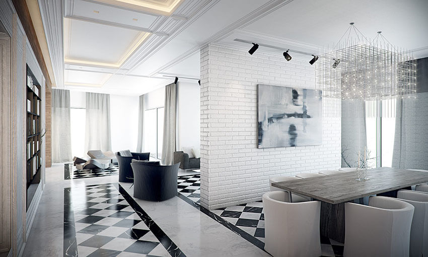the black and white flooring in an art deco hall