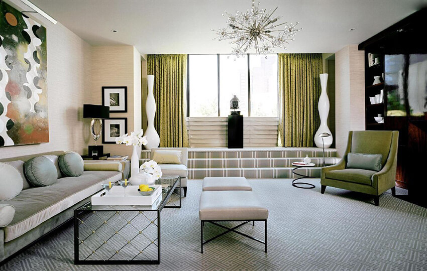 an art deco interior design with combination of gray and green