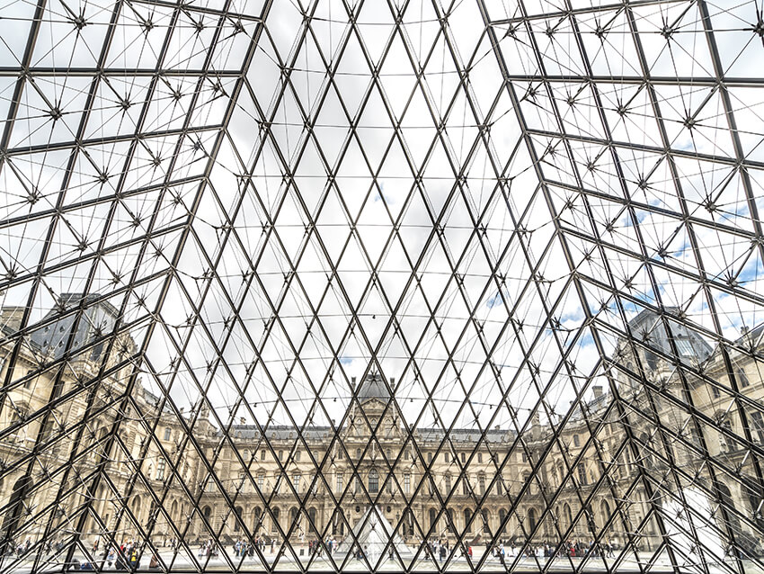 one of the atrium architecture, Louvre Museum in Paris
