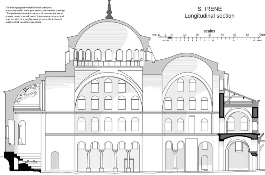 Hagia Irene church longitudinal section