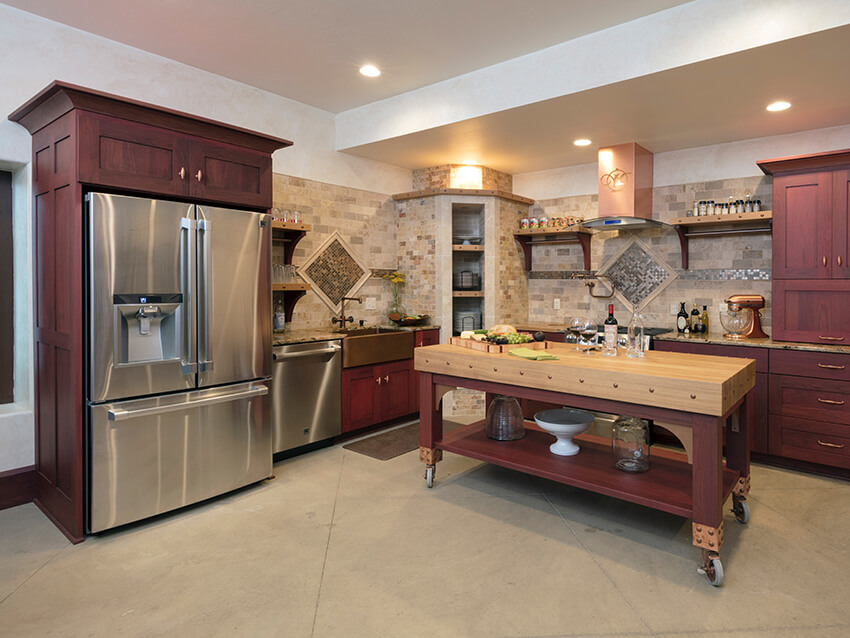 modern kitchen layout with wooden cabinets