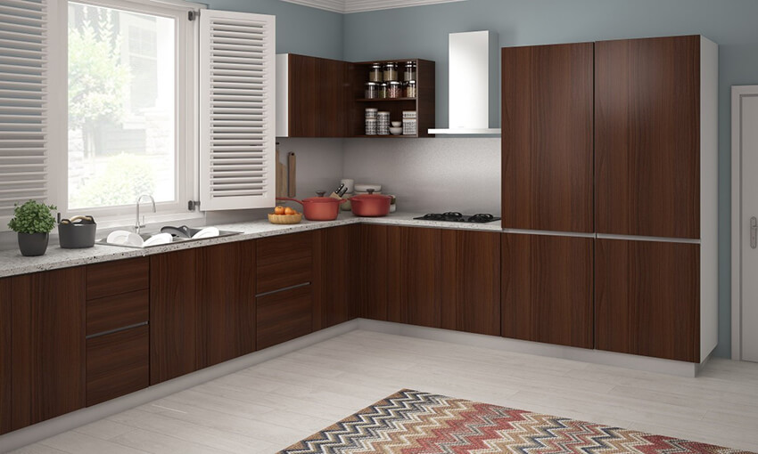 A kitchen with L shape look