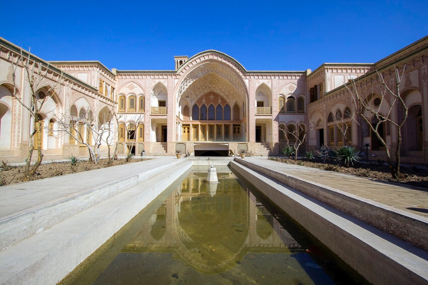 a central Iran architecture courtyard in Yazd, Iran