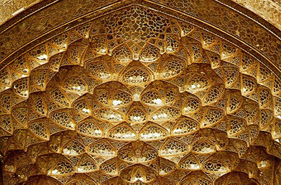 the entrance of an Iran architecture portico