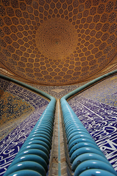 Dominating shades of blue under a tiled dome - Architecture Iran