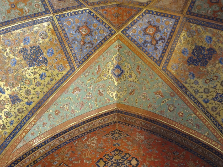 geometric and floral patterns on ceiling in Isfahan, Iran