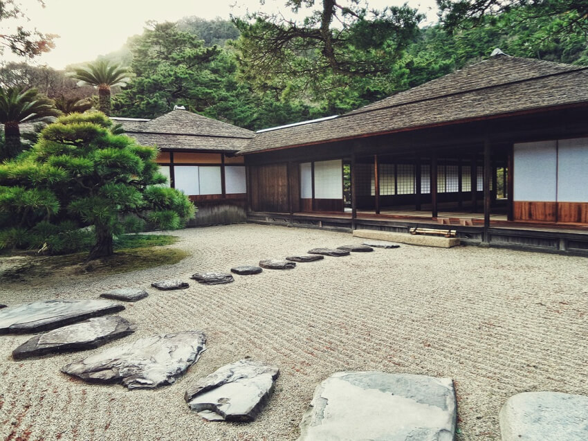 A Japanese House with a Zen yard outside