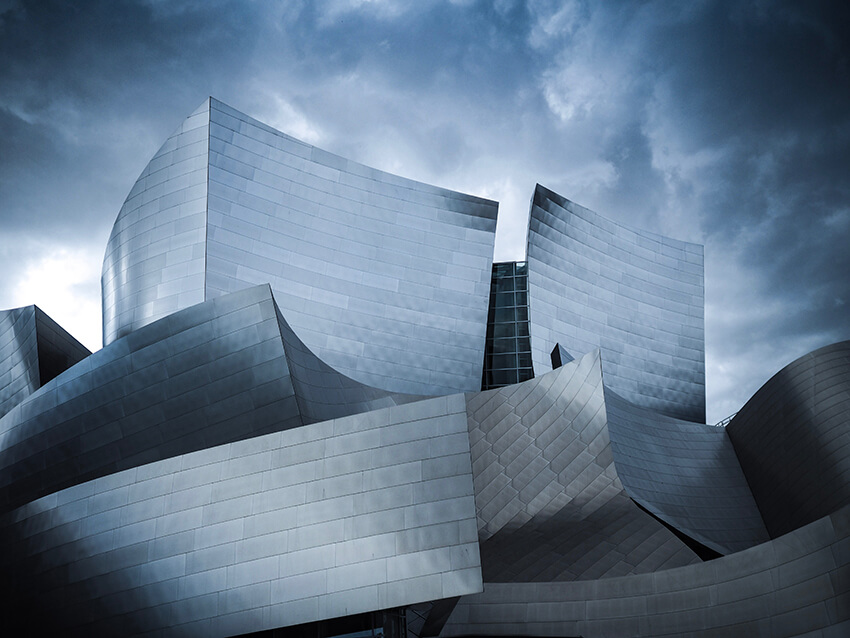 A view of Frank Gehry's Walt Disney Concert Hall