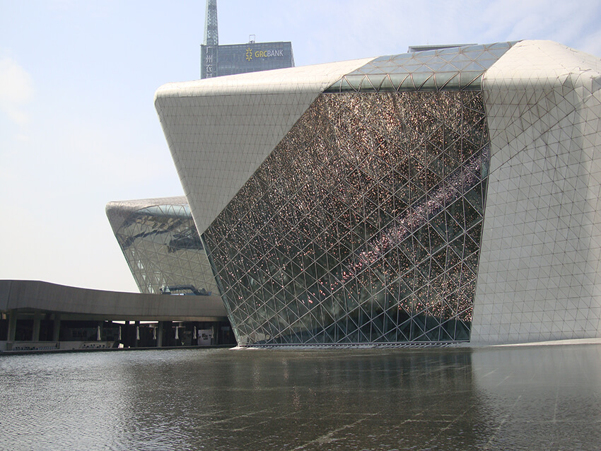 A near and front view of Guangzhou Opera House n
