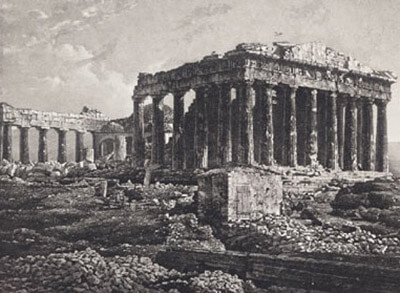 Parthenon, Acropolis, Athens, Greece – the oldest recorded picture