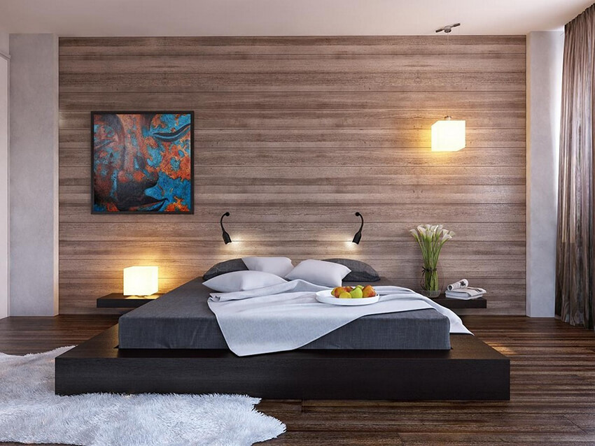 a modern Bedroom with wood material