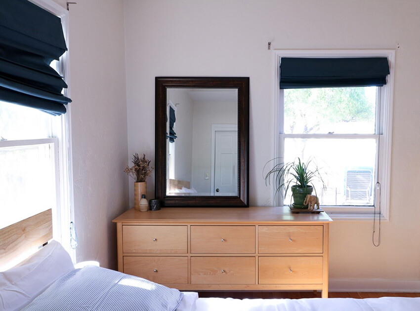 Arranged Bedroom with wooden table