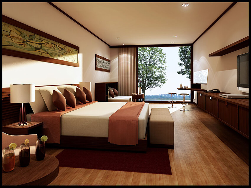A fashion Bedroom with wooden floor