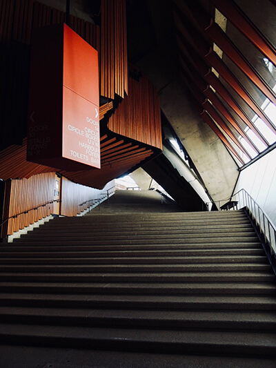 Sydney Opera House entry stairs to the main theatre hall