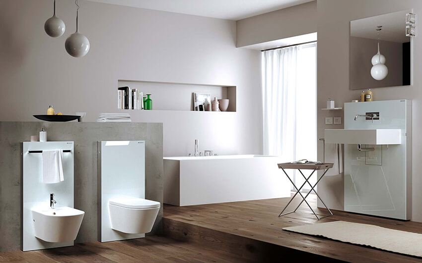 A modern bathroom with bamboo flooring and toilet