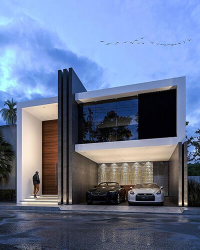The modern Mexican architecture with front garage