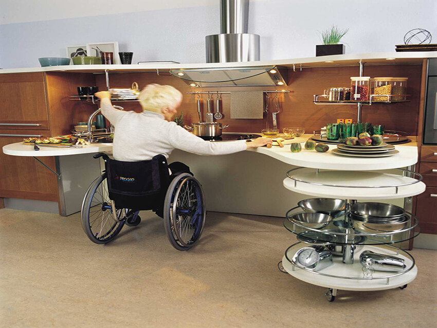 A kitchen for older people use