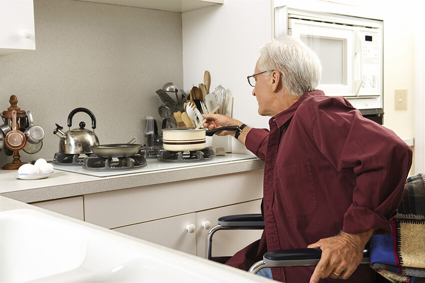 A suitable kitchen for elderly people use