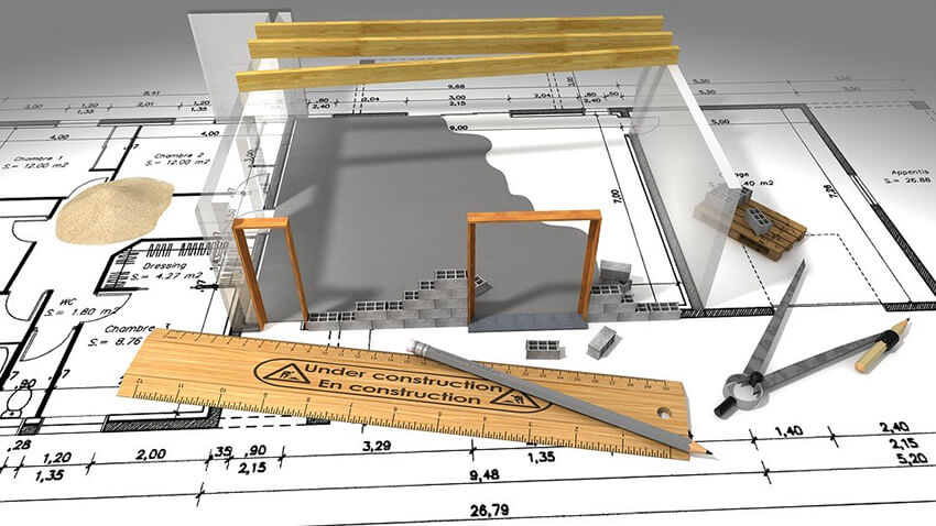 A 3D site plan view