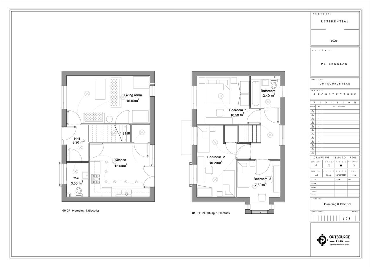 the plumbing and electrical plan and details of a project