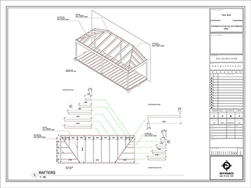 wooden pergola roof rafter's dimensions and isometric view