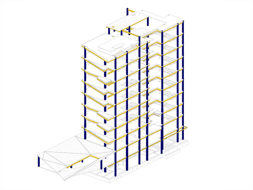 a detailed model of the metal structure system of a high-rise residential building