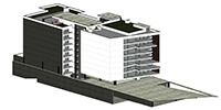 isometric view of a modern residential building with large windows modeled with BIM software
