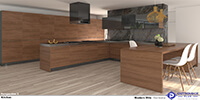 interior space of a modern wooden kitchen with natural wood cabinets