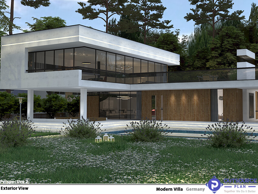 The exterior view of a modern concrete villa with a large water pool