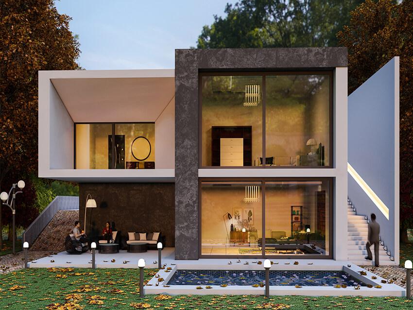 contemporary fa ade design for a small villa rh outsourceplan com