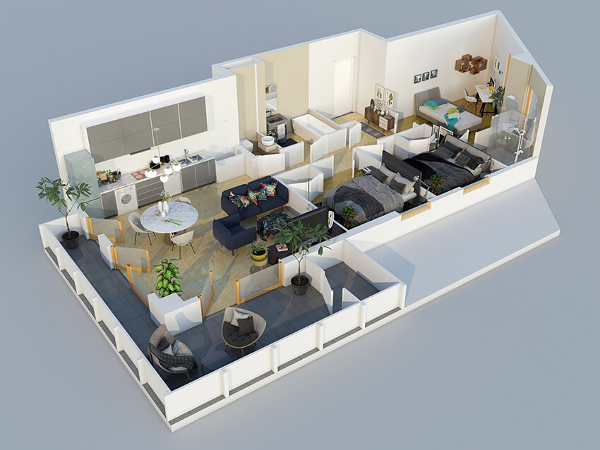colored isometric plan of a two bedroom apartment with an open kitchen and a large terrace
