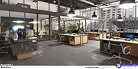 industrial interior space of a large office with grey tile flooring and wooden working tables