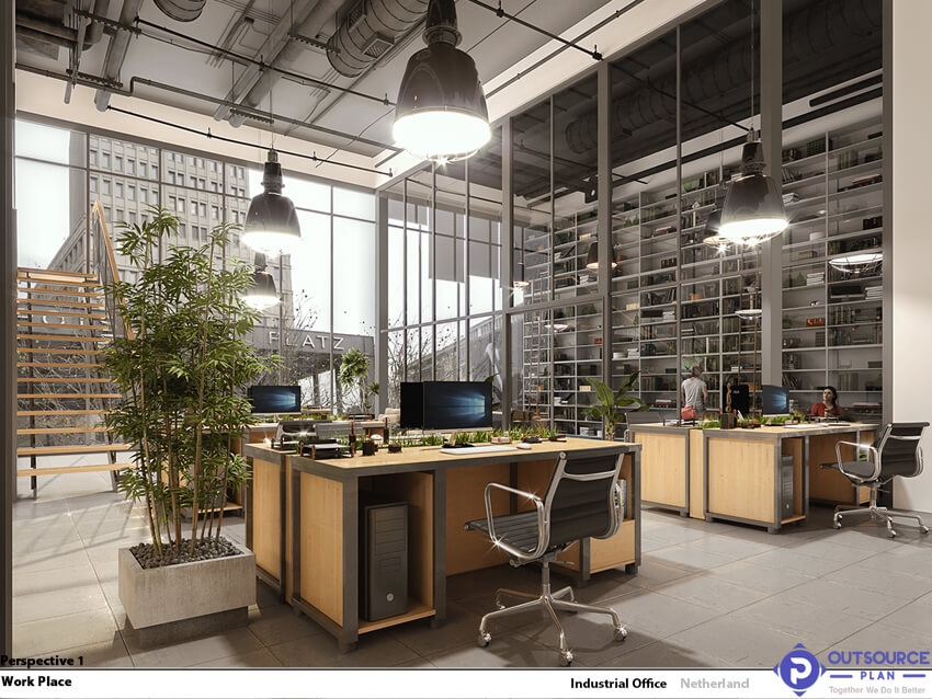 interior space of an office designed with the industrial design style