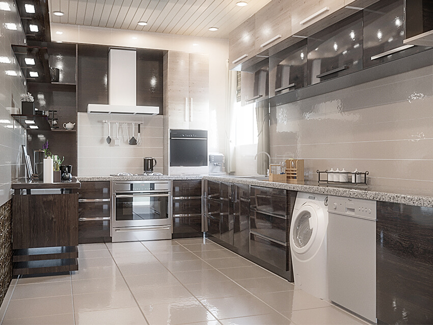 Kitchen Interior Design With Dark High Gloss Cabinets And Built In