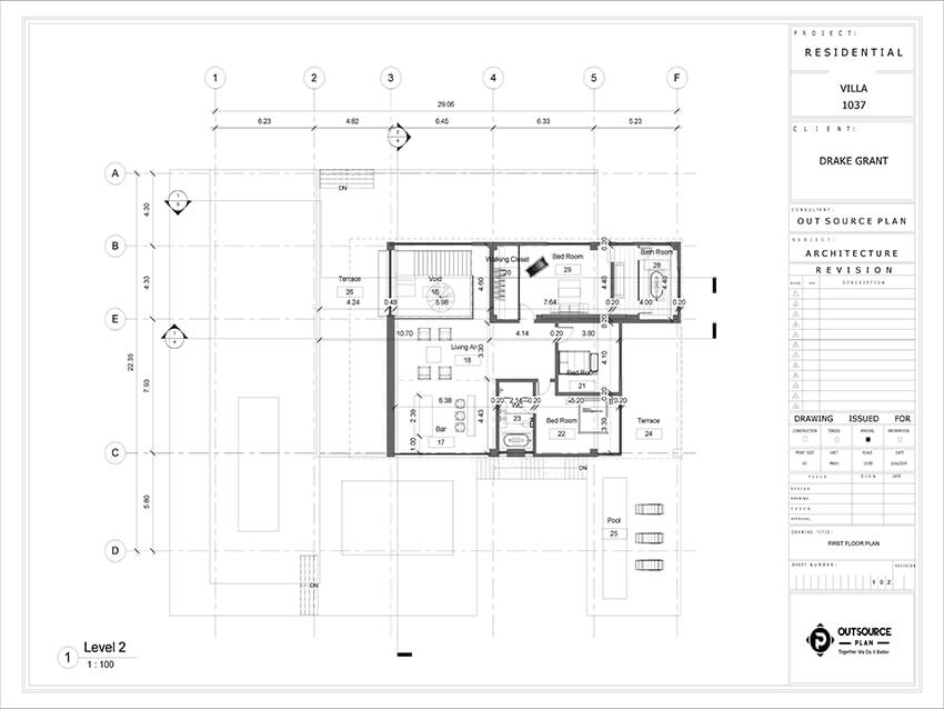 the first floor plan of a family house