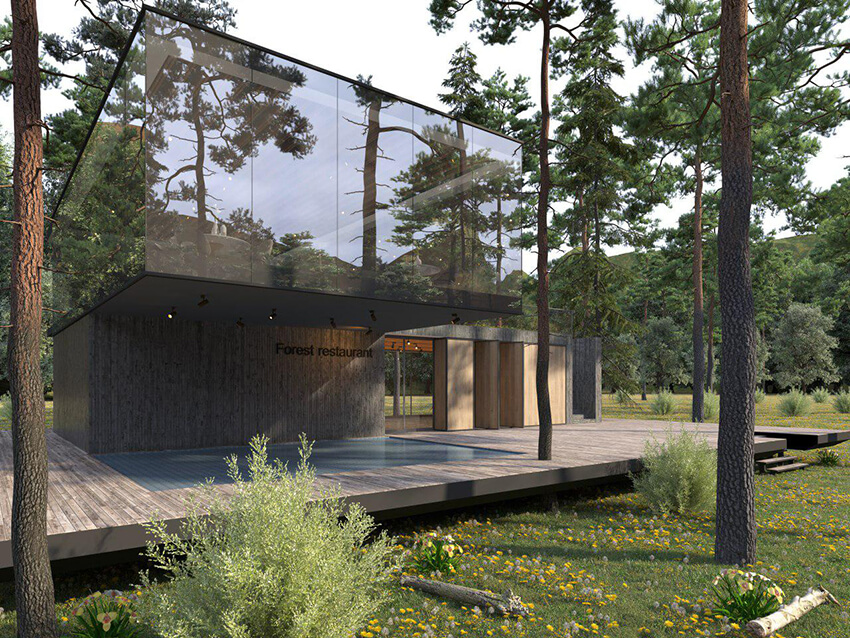 a modern wooden restaurant in the forest with floor to ceiling windows