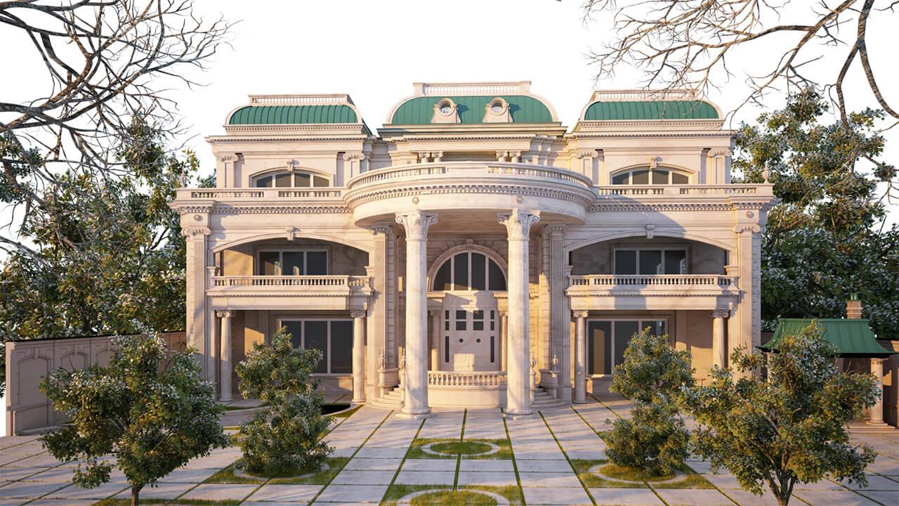 Exterior: The Exterior And Interior Design Of A Classic Style Villa