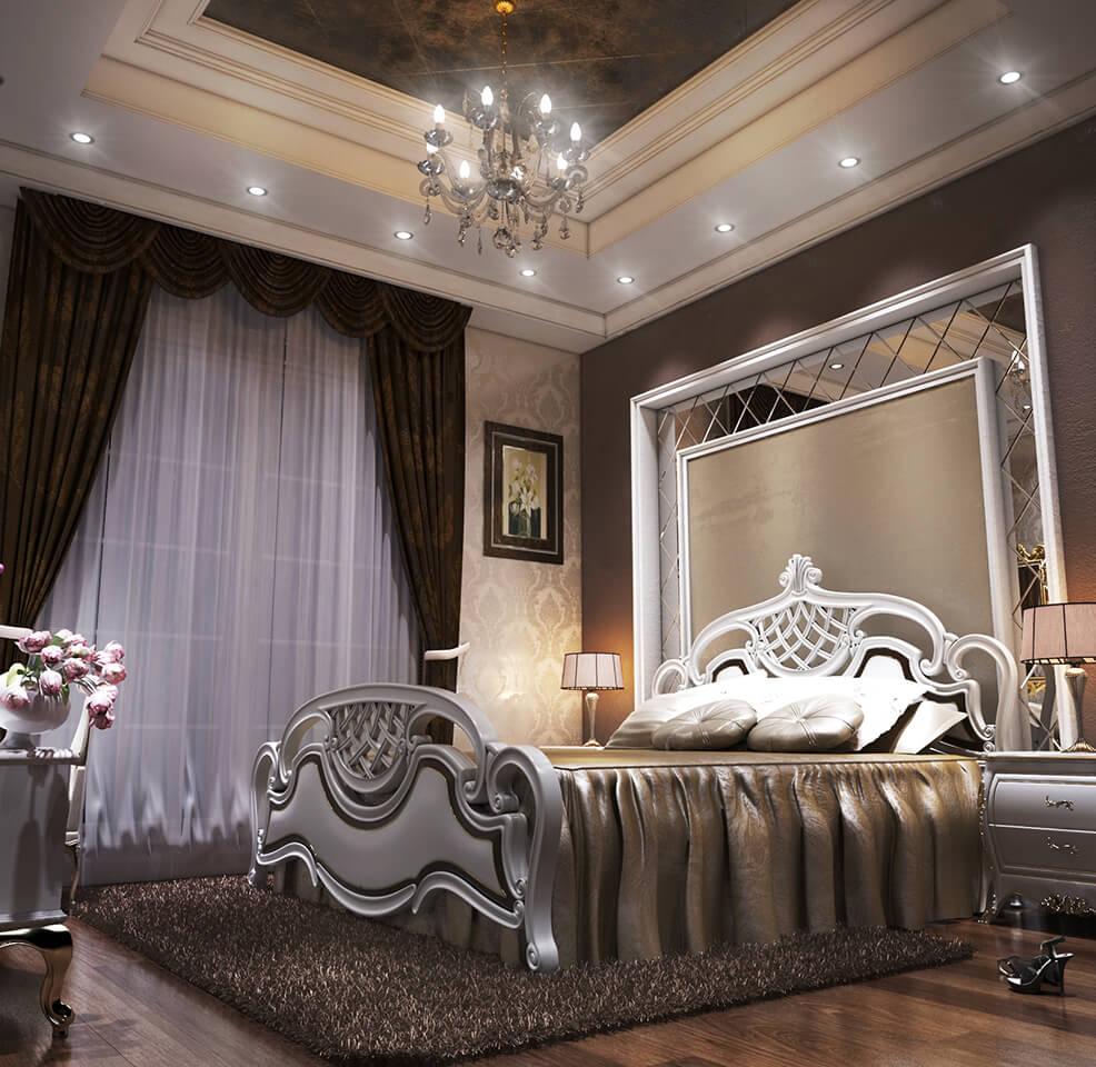 Luxury Apartment Bedroom: The Interior Design Of A Dark Color Luxury Classic Apartment