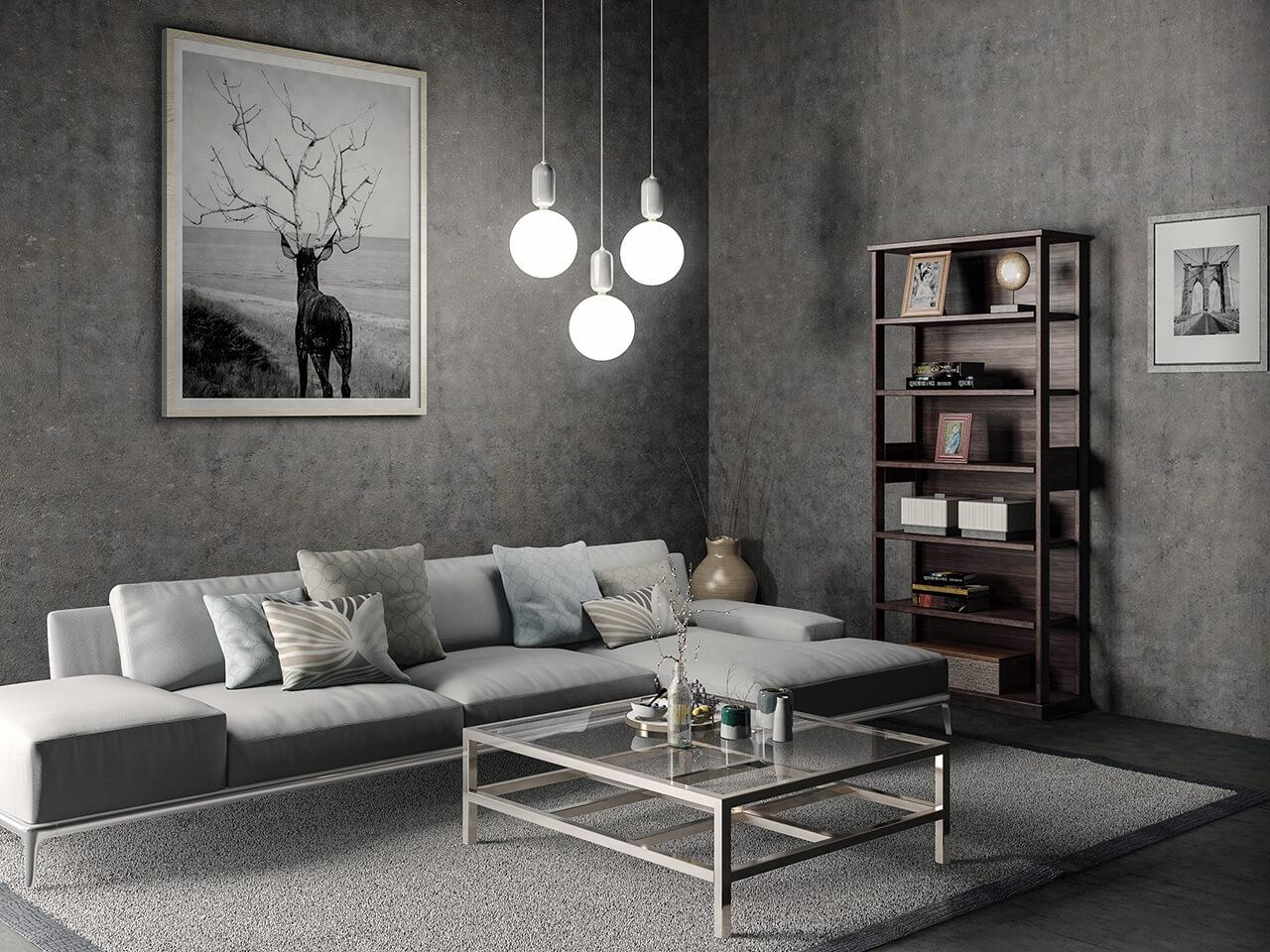The Interior Design Of A Grey Modern Living Room